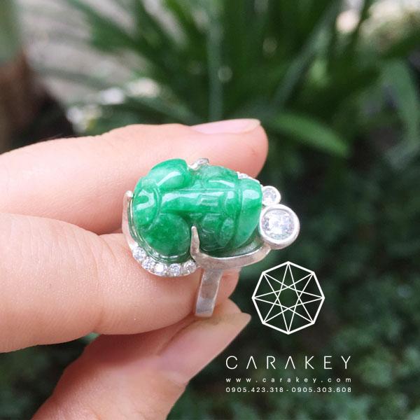 Nhẫn bạc tỳ hưu đá cẩm thạch